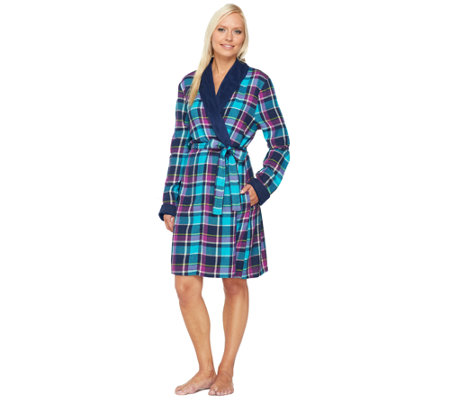 """As Is"" Carole Hochman Flannel & Microfleece Robe"