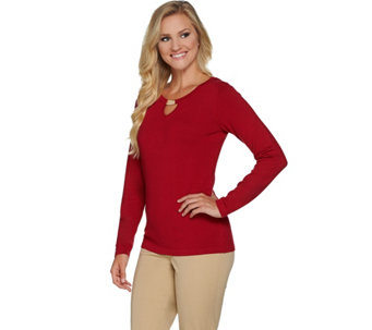 Susan Graver Rayon Nylon Sweater with Keyhole - A282952