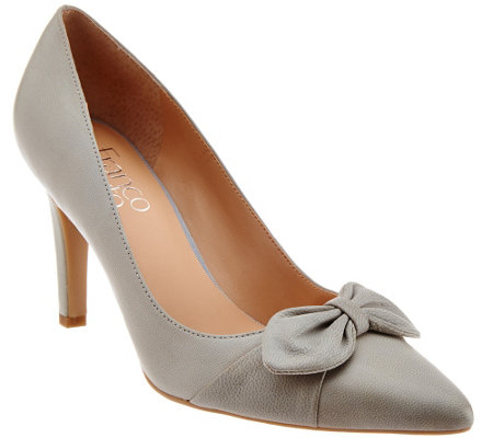 """As Is"" Franco Sarto Pointed Toe Pumps with Bow Detail - Arabella"