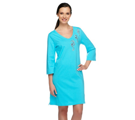 """As Is"" Quacker Factory By the Sea 3/4 Sleeve Knit Cover-Up"