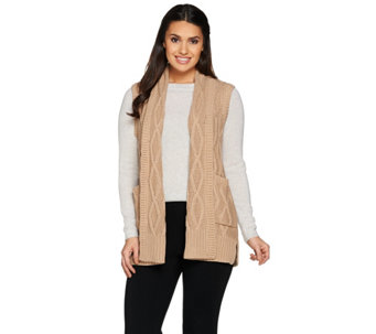 Lisa Rinna Collection Cabled Sweater Vest with Pockets - A285552