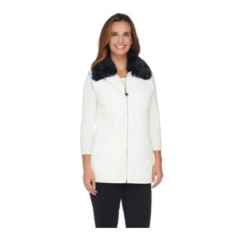 Dennis Basso Quilted Vest with Detachable Faux Fur Collar