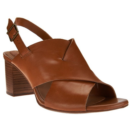 """As Is"" Clarks Artisan Leather Cross Band Block Heel Ralene Vive"