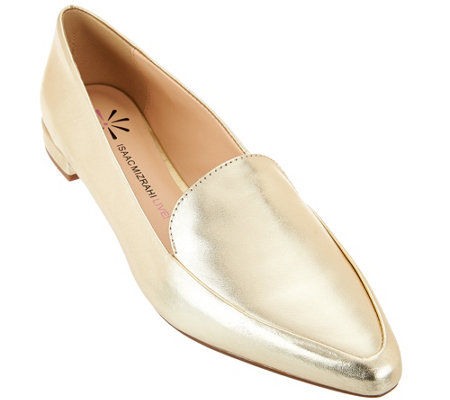 """As Is"" Isaac Mizrahi Live! Metallic Leather Loafers"