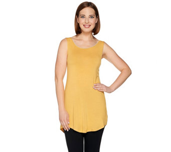 """As Is"" LOGO Layers by Lori Goldstein Knit Tank with Lace Trim Scoop Neck - A288452"