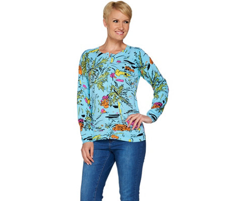"""As Is"" Quacker Factory Abstract Print Tropic Cardigan"