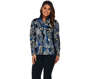 """As Is"" Susan Graver Weekend Printed French Terry Zip Front Jacket - A289952"