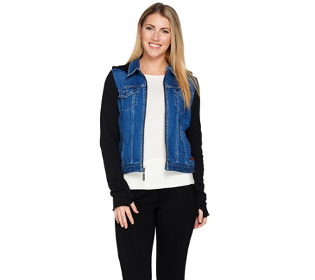 Peace Love World French Terry & Denim Zip Front Jacket