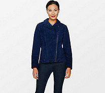 Isaac Mizrahi Live! Suede Motorcycle Jacket with Printed Lining - A293552