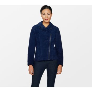 Isaac Mizrahi Live! Suede Motorcycle Jacket with Printed Lining