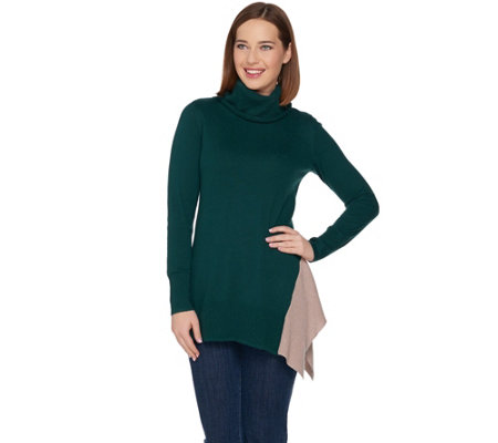 """As Is"" LOGO by Lori Goldstein Cotton Cashmere Cowl Neck Knit Sweater"