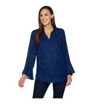 Belle by Kim Gravel V-neck Woven Blouse with Bell Sleeves