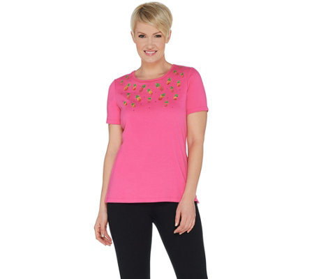Quacker Factory Short Sleeve Embroidered Knit Top