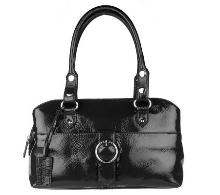 Butler Bag by Jen Groover Crinkle Patent Top Zip Satchel