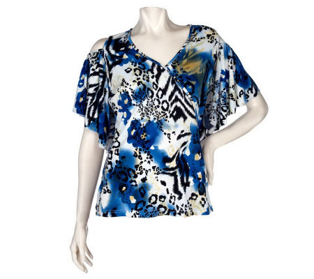 M by Marc Bouwer Animal Print Cold Shoulder Faux Wrap Top