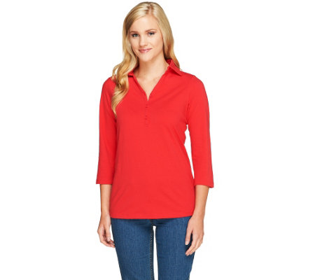 Denim & Co. Essentials Perfect Jersey 3/4 Sleeve V-neck Polo
