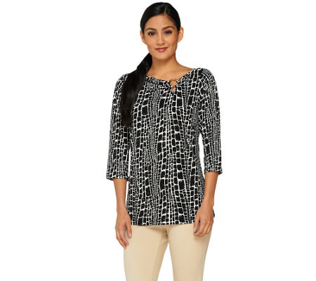 Susan Graver Liquid Knit Graphic Print Top with Sparkles