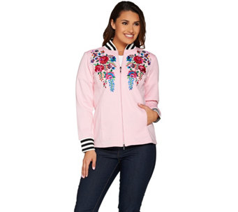 Linea Leisure by Louis Dell'Olio Embroidered Baseball Jacket - A221353