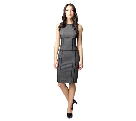 G.I.L.I. Sleeveless Dress with Faux Leather Trim Detail