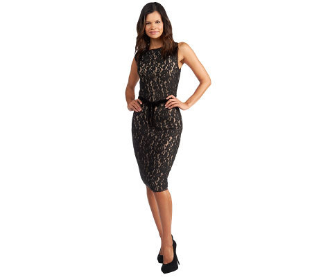 G.I.L.I. Knit Lace Fully Lined Sleeveless Pencil Dress
