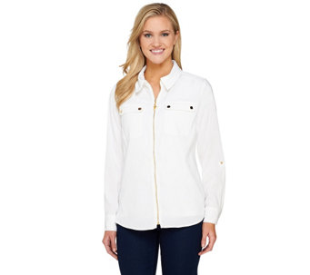 Susan Graver Solid Stretch Peachskin Zip Front Jacket with Gold Snaps - A231253