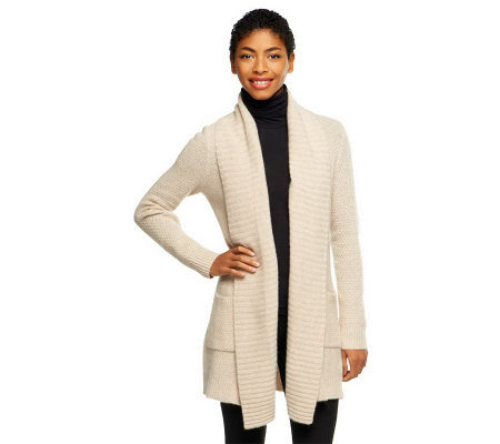 Isaac Mizrahi Live! 2-Ply Cashmere Ribbed Collar Sweater Coat