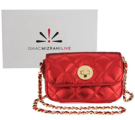 Isaac Mizrahi Live! Bridgehampton Quilted Leather Mini Crossbody