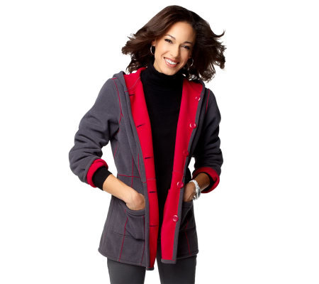 """As Is"" Susan Graver Bonded Fleece Reversible Hooded Coat"