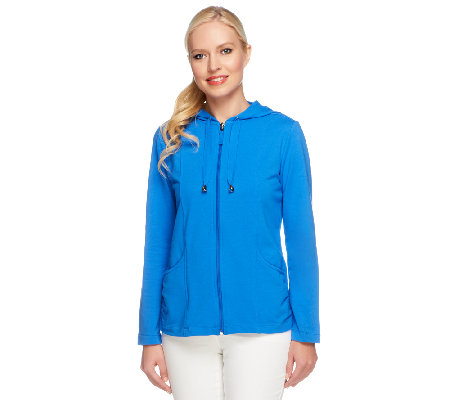 Susan Graver Weekend French Terry Zip Front Hooded Jacket