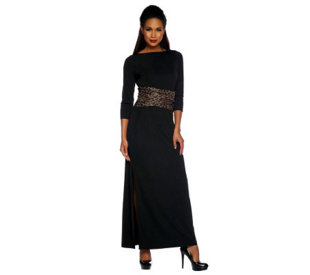 Dennis Basso 3/4 Sleeve Maxi Dress w/ Animal Print Bow & Side Slit