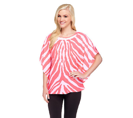 Susan Graver Printed Scarf Top with Bateau Neckline