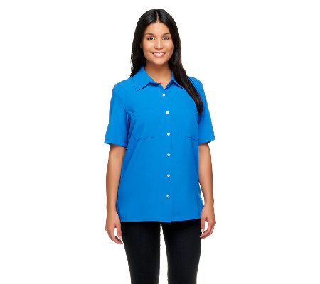 Susan Graver Woven Short Sleeve Camp Shirt