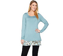 LOGO by Lori Goldstein Twin Set with Knit Top and Printed Tank - A255753