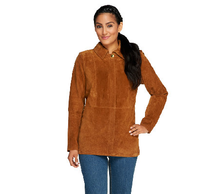 Liz Claiborne New York Suede Zip Front Barn Jacket