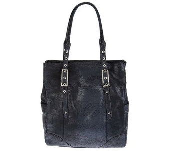 """As Is"" B. Makowsky Leather North/ South Tote with Straps - A257853"