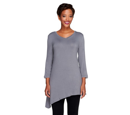 LOGO Layers by Lori Goldstein Knit Top with V-Neck and Angled Hem