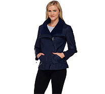 Denim & Co. Faux Leather Jacket w/ Faux Sherpa Collar - A259253