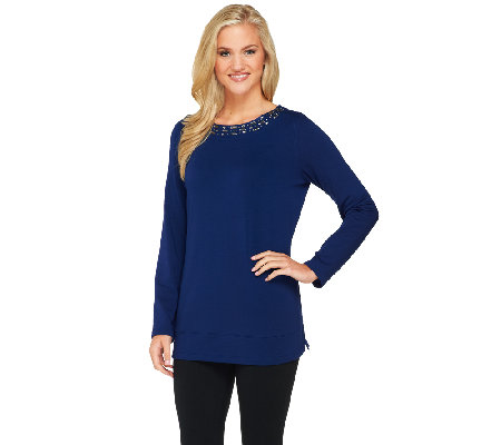 Susan Graver Weekend Brushed Back Knit Bateau Neck Top