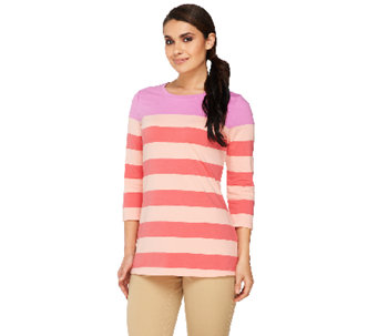 Isaac Mizrahi Live! 3/4 Sleeve Striped Knit Tunic - A262053