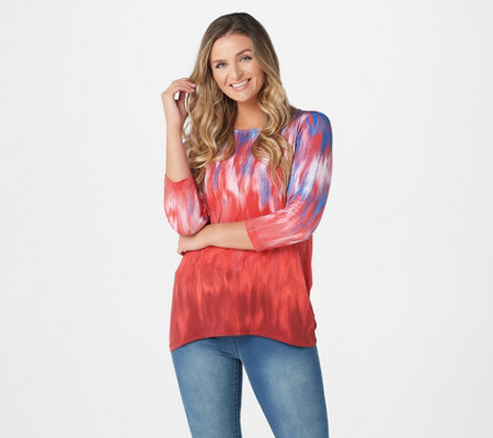 Linea by Louis Dell'Olio Printed 3/4 Sleeve Hi-Low Hem Tunic