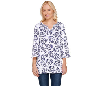 Quacker Factory Island Floral 3/4 Sleeve Tunic - A263553