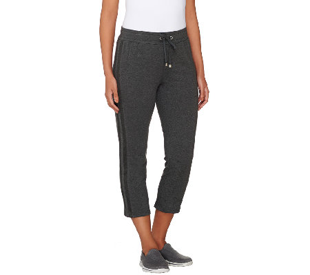 Denim & Co. Active French Terry Crop Pants w/ Mesh Detail