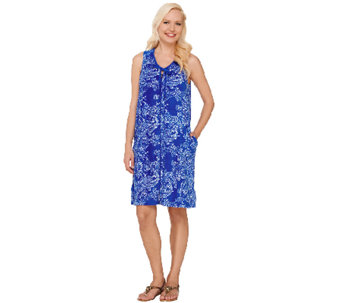 Stan Herman Festive Paisley Zip-Up Terry Tank Dress - A264653