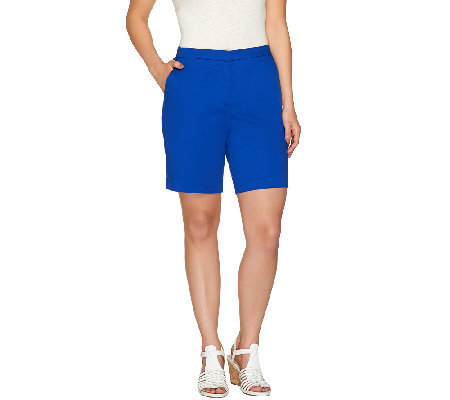 Susan Graver Cotton Sateen Comfort Waist Back Zip Front Shorts