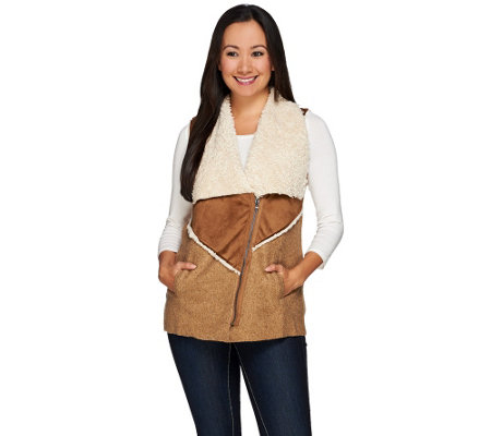 LOGO by Lori Goldstein Mixed Media Faux Sherpa Zip Front Vest