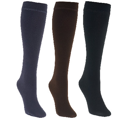 MUK LUKS 3 Pairs Faux Mink Lined Trouser Socks
