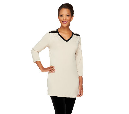 """As Is"" Susan Graver Liquid Knit Color Block V-neck 3/4 Sleeve Top"