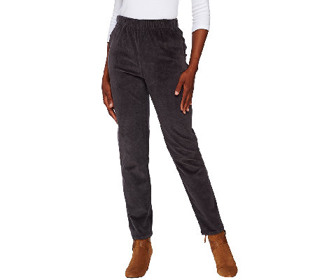 Denim & Co. Slim Leg Wide Wale Corduroy Side Pocket Pants