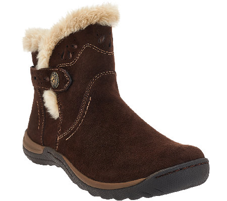 Earth Origins Leather Ankle Boots w/ Faux Fur Trim - Karlene