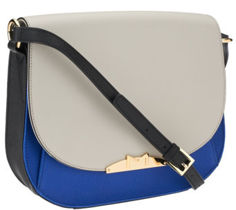 """As Is"" Marc Fisher Harper Leather Saddle Bag with Strap - A270153"